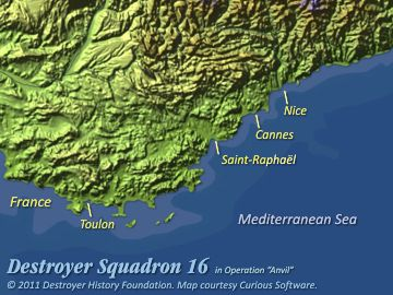 DesRon 16 off southern France, August 1944