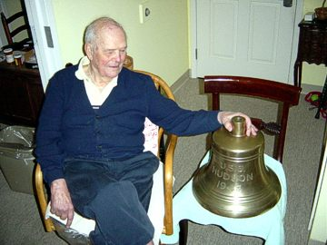 ADM Richard Rockwell Pratt with Hudson's bell, Christmas 2004