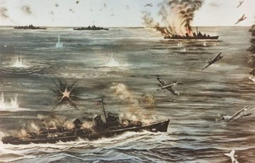 Leutze closes Newcomb, 6 April 1945, by Bob Boyle
