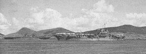 USS Robin (HMS Victorious) with USS Saratoga at Noumea, 1943