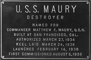 USS Maury data plaque