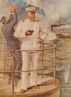 Commodore George Dewey at the  Battle of Manila Bay